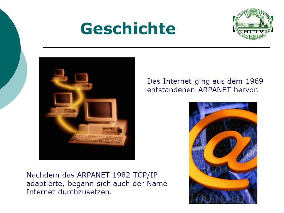 Geschichte Das Internet ging aus dem 1969 entstandenen ARPANET hervor.