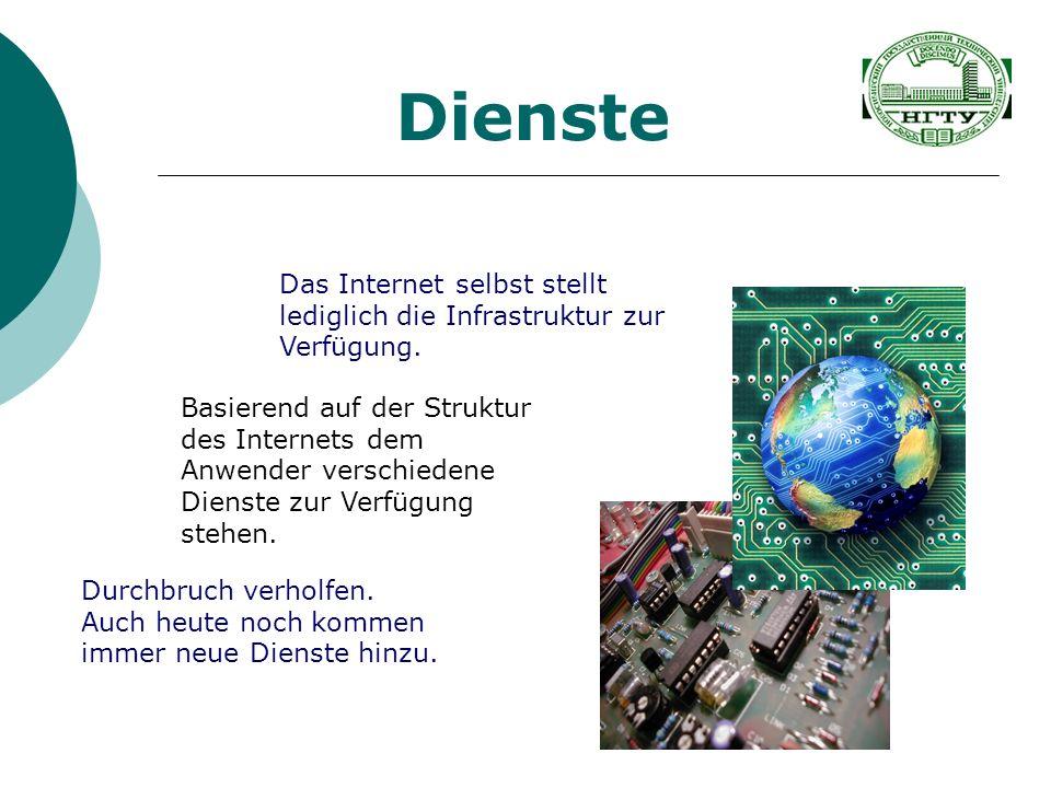 Dienste Das Internet selbst stellt lediglich die Infrastruktur zur Verfügung.
