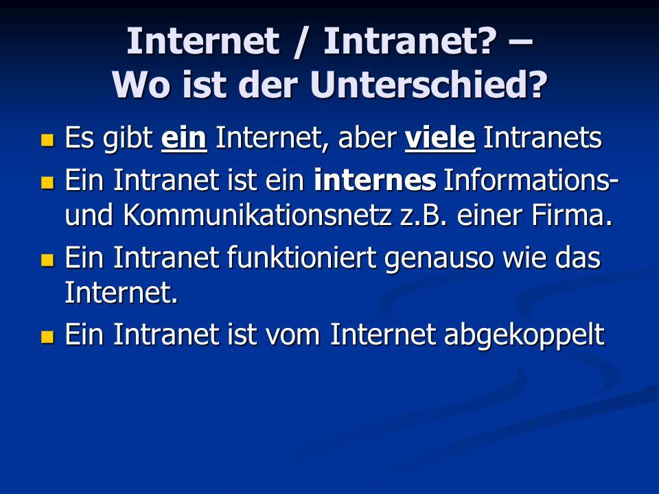 Internet / Intranet – Wo ist der Unterschied