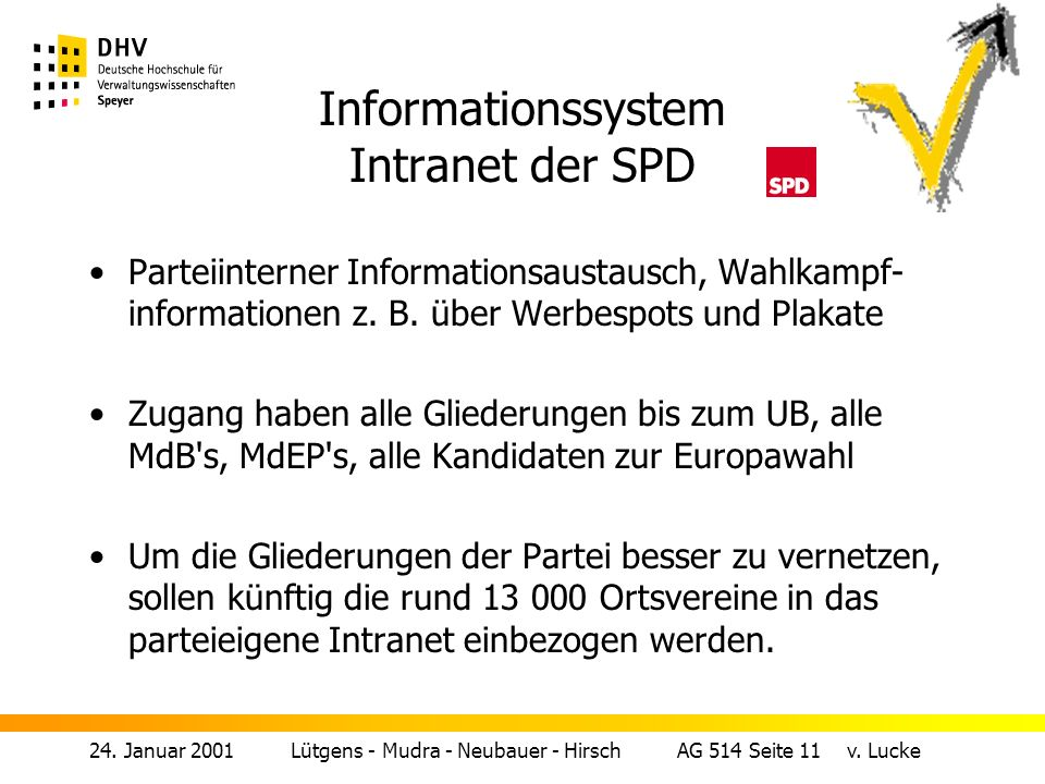 Informationssystem Intranet der SPD