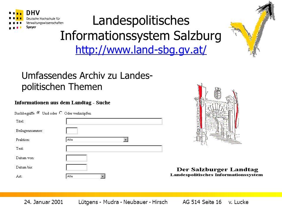 Landespolitisches Informationssystem Salzburg http://www. land-sbg. gv