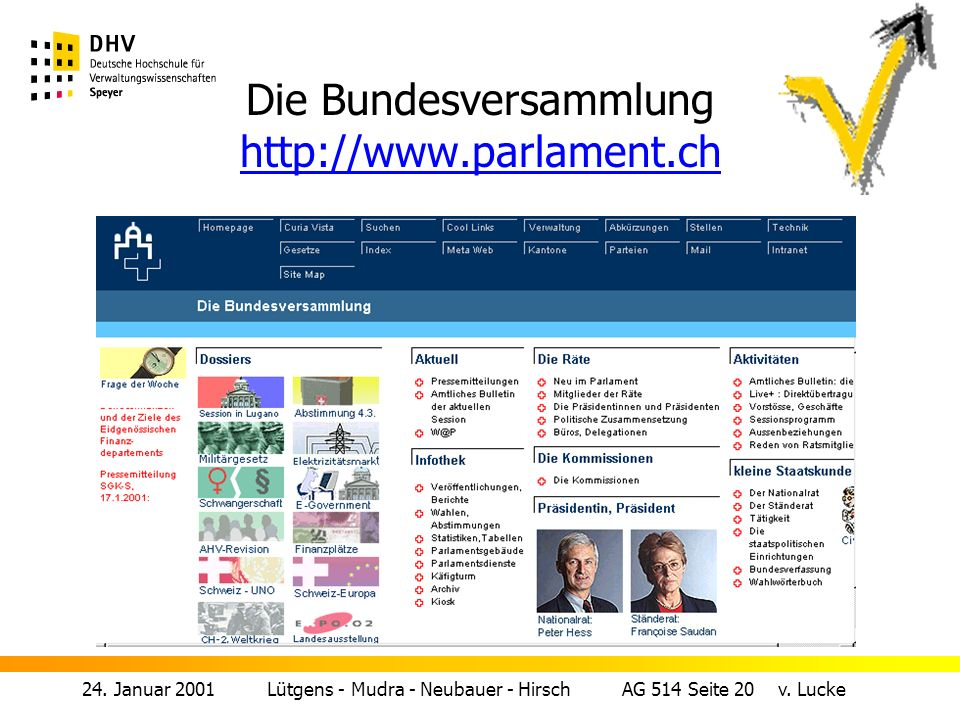 Die Bundesversammlung http://www.parlament.ch