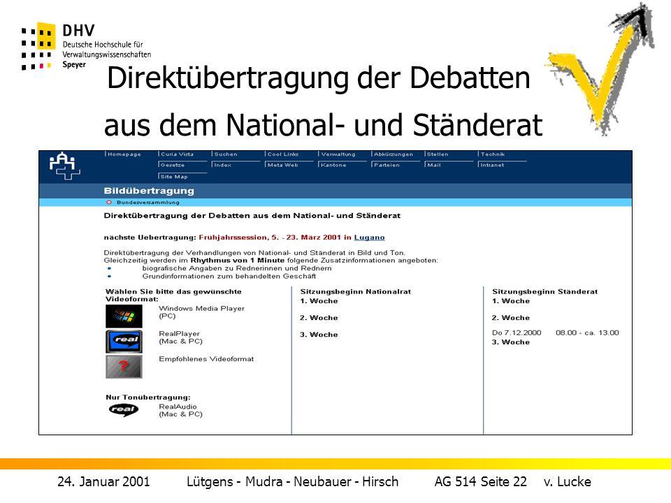 Direktübertragung der Debatten aus dem National- und Ständerat