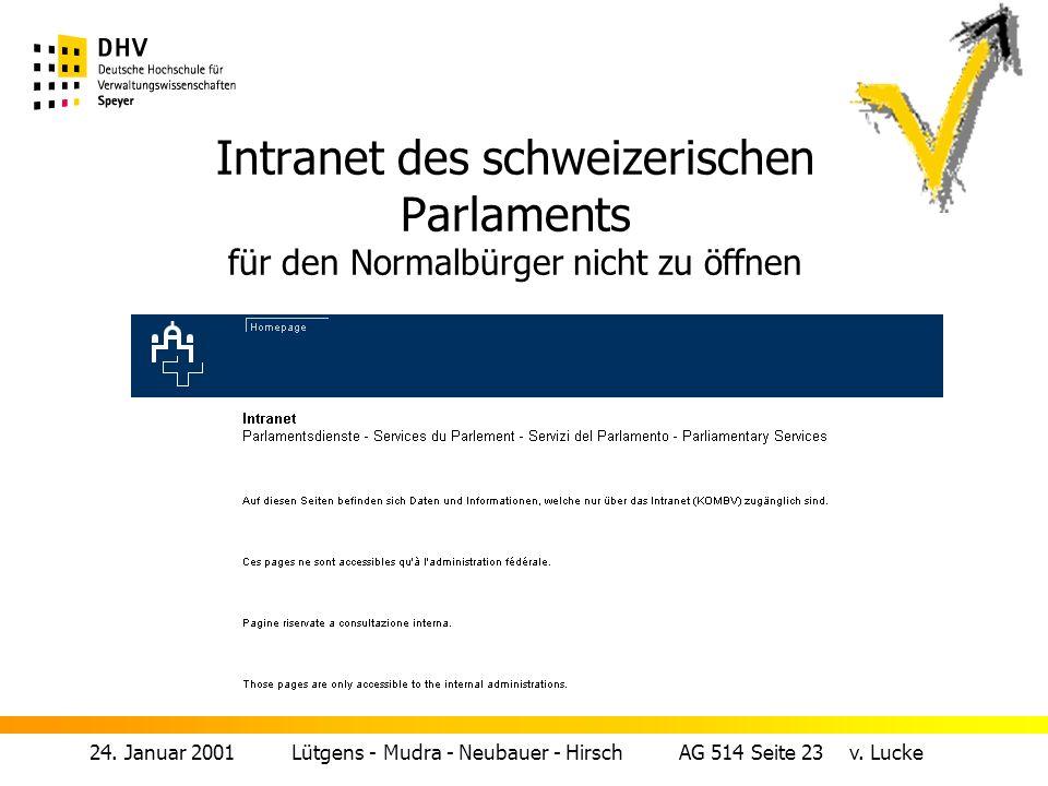 Intranet des schweizerischen Parlaments für den Normalbürger nicht zu öffnen