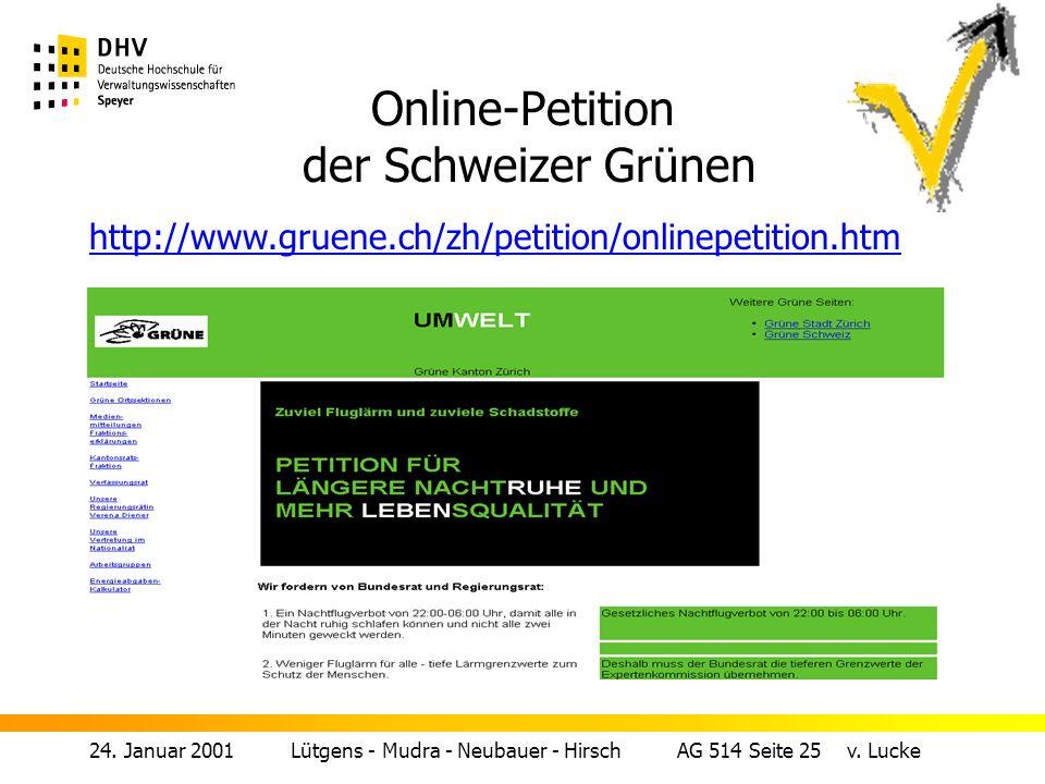 Online-Petition der Schweizer Grünen