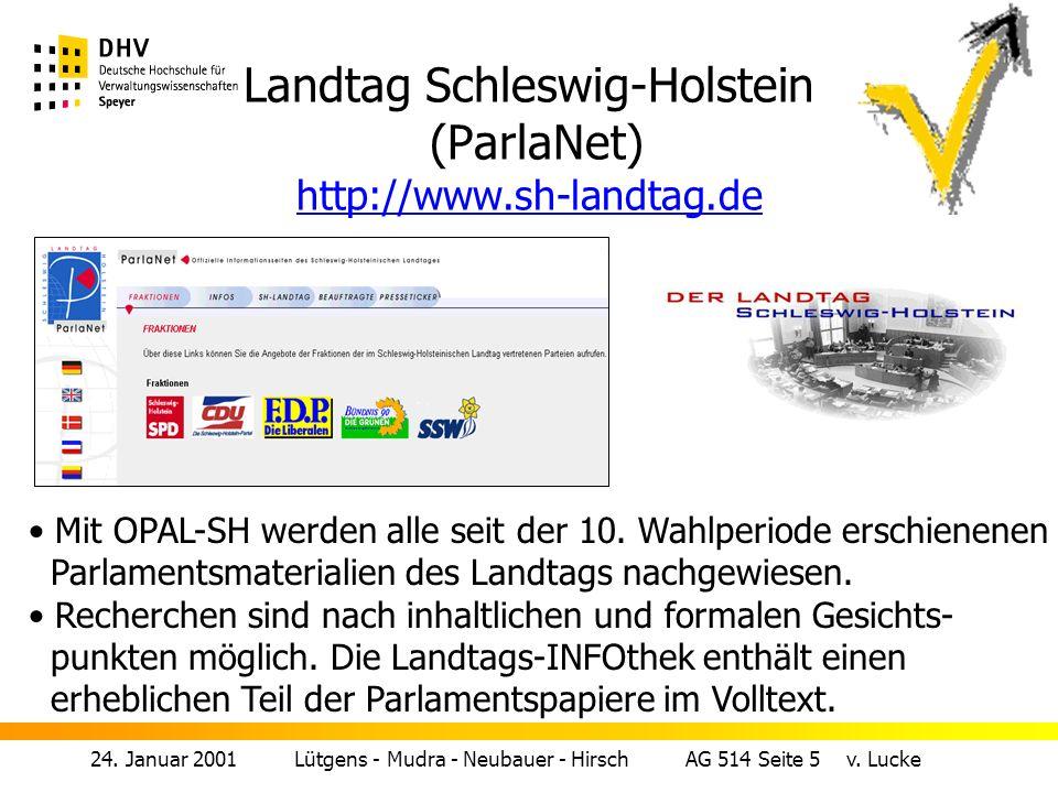 Landtag Schleswig-Holstein (ParlaNet) http://www.sh-landtag.de