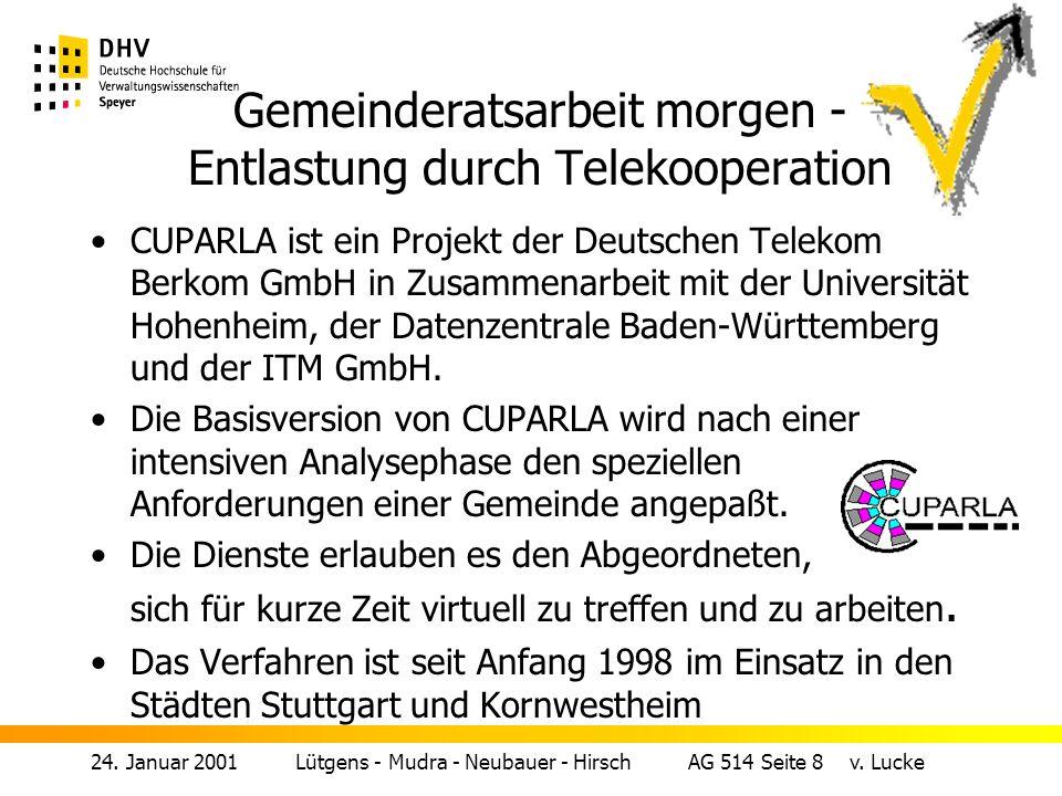 Gemeinderatsarbeit morgen - Entlastung durch Telekooperation