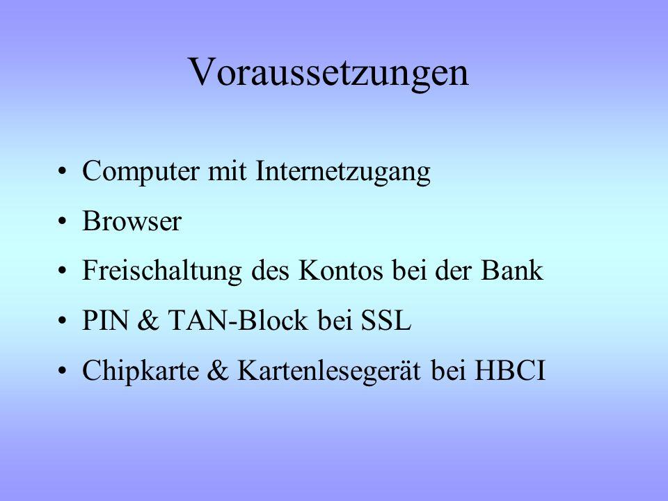 Voraussetzungen Computer mit Internetzugang Browser