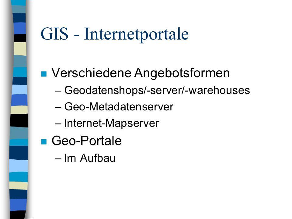 GIS - Internetportale Verschiedene Angebotsformen Geo-Portale