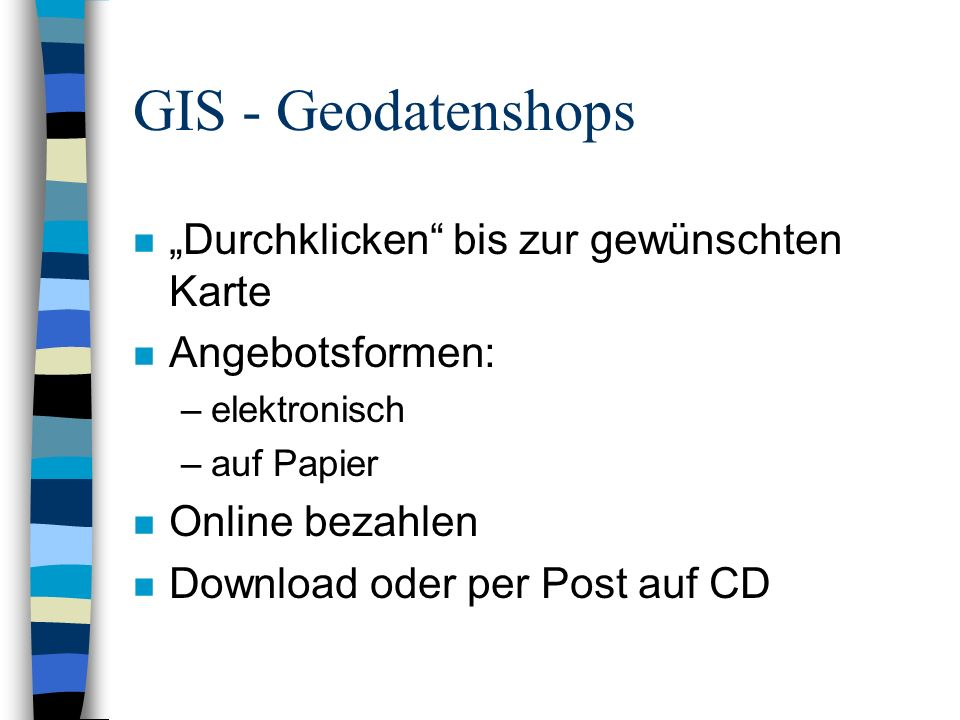 """GIS - Geodatenshops """"Durchklicken bis zur gewünschten Karte"""