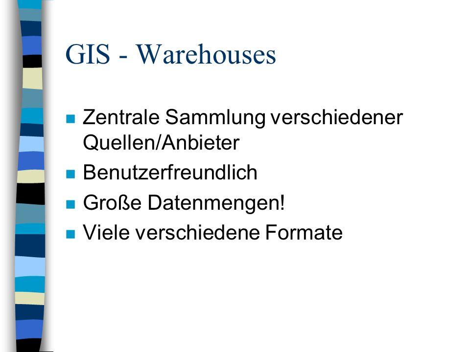 GIS - Warehouses Zentrale Sammlung verschiedener Quellen/Anbieter