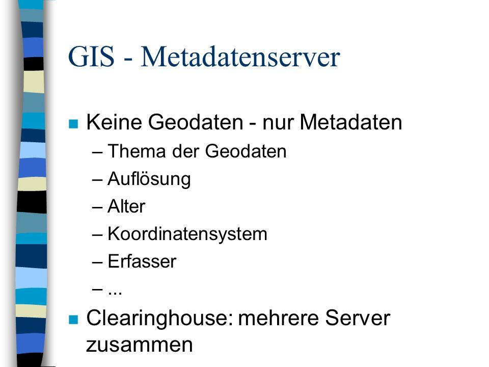 GIS - Metadatenserver Keine Geodaten - nur Metadaten