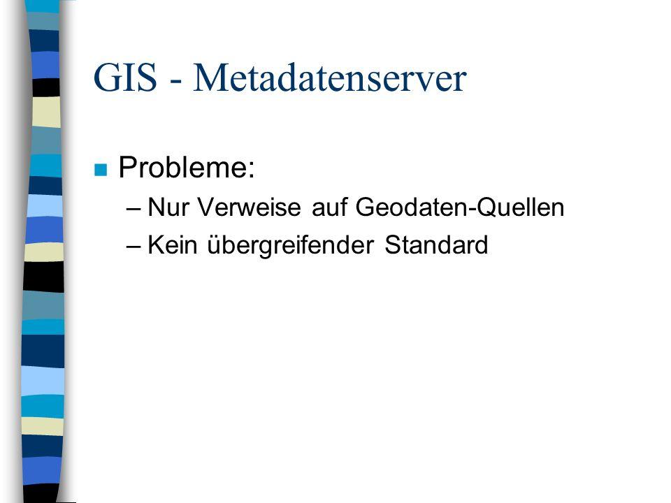 GIS - Metadatenserver Probleme: Nur Verweise auf Geodaten-Quellen