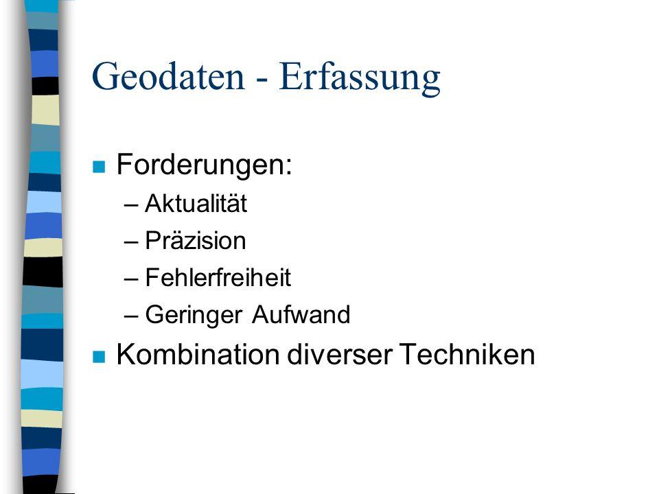 Geodaten - Erfassung Forderungen: Kombination diverser Techniken