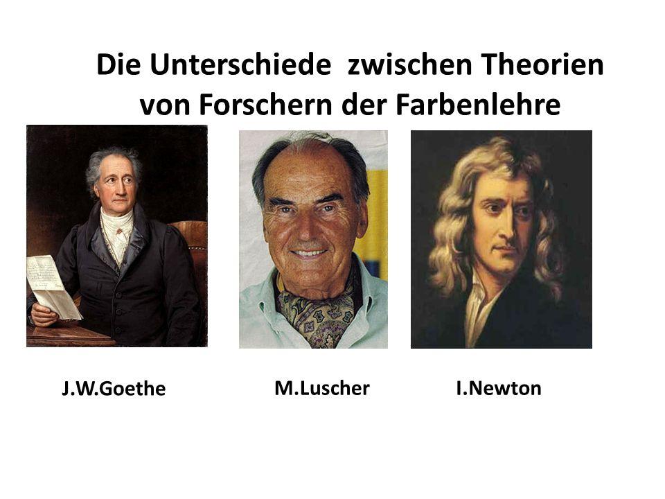 Die Unterschiede zwischen Theorien von Forschern der Farbenlehre