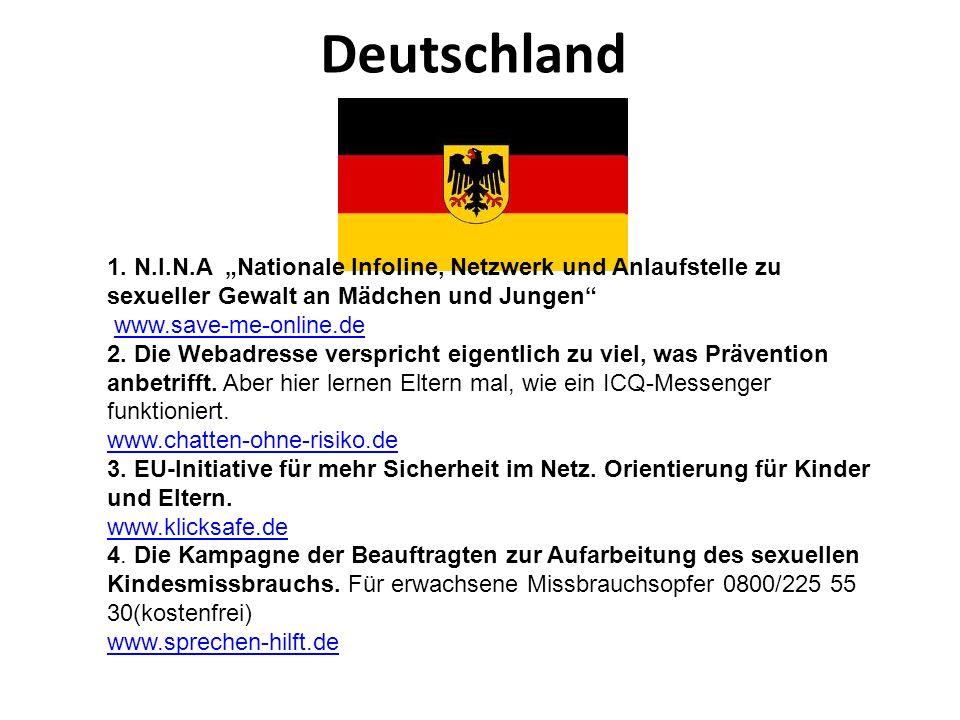 """Deutschland 1. N.I.N.A """"Nationale Infoline, Netzwerk und Anlaufstelle zu sexueller Gewalt an Mädchen und Jungen"""
