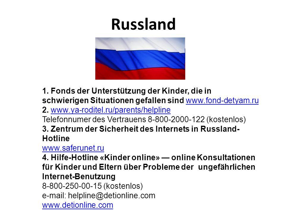 Russland 1. Fonds der Unterstützung der Kinder, die in schwierigen Situationen gefallen sind www.fond-detyam.ru.