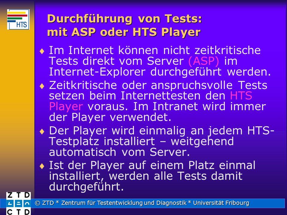 Durchführung von Tests: mit ASP oder HTS Player