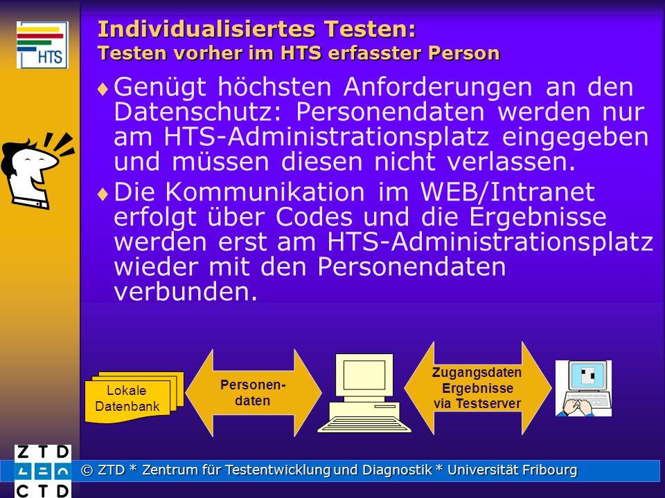 Individualisiertes Testen: Testen vorher im HTS erfasster Person