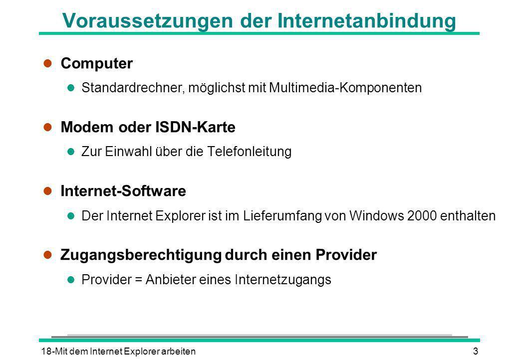 Voraussetzungen der Internetanbindung