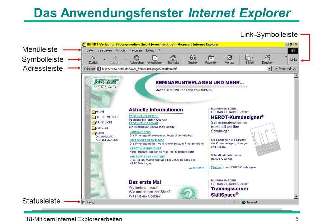 Das Anwendungsfenster Internet Explorer