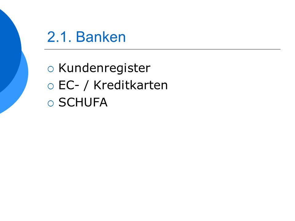 2.1. Banken Kundenregister EC- / Kreditkarten SCHUFA