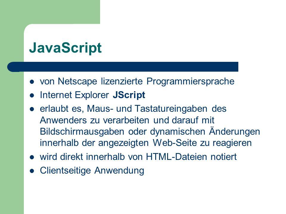 JavaScript von Netscape lizenzierte Programmiersprache