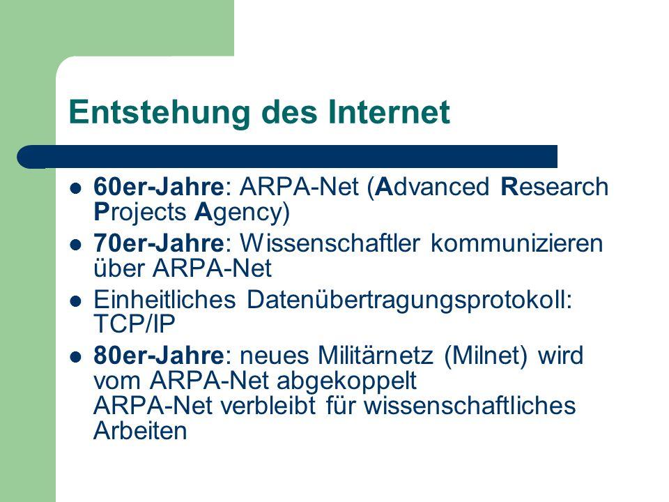 Entstehung des Internet