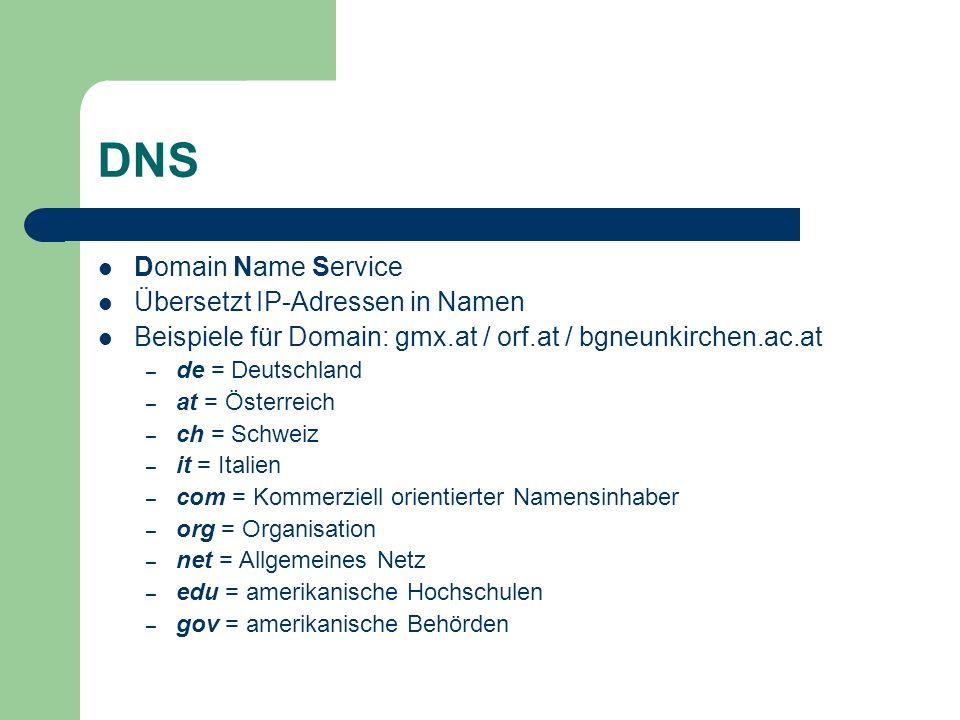DNS Domain Name Service Übersetzt IP-Adressen in Namen