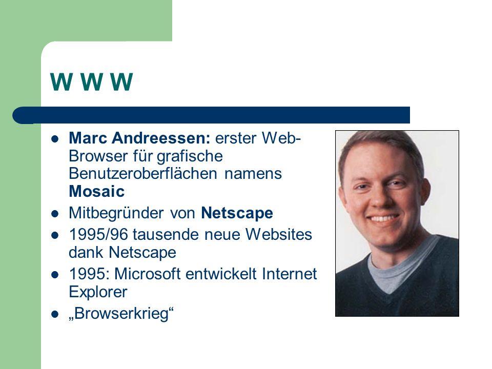 W W W Marc Andreessen: erster Web-Browser für grafische Benutzeroberflächen namens Mosaic. Mitbegründer von Netscape.
