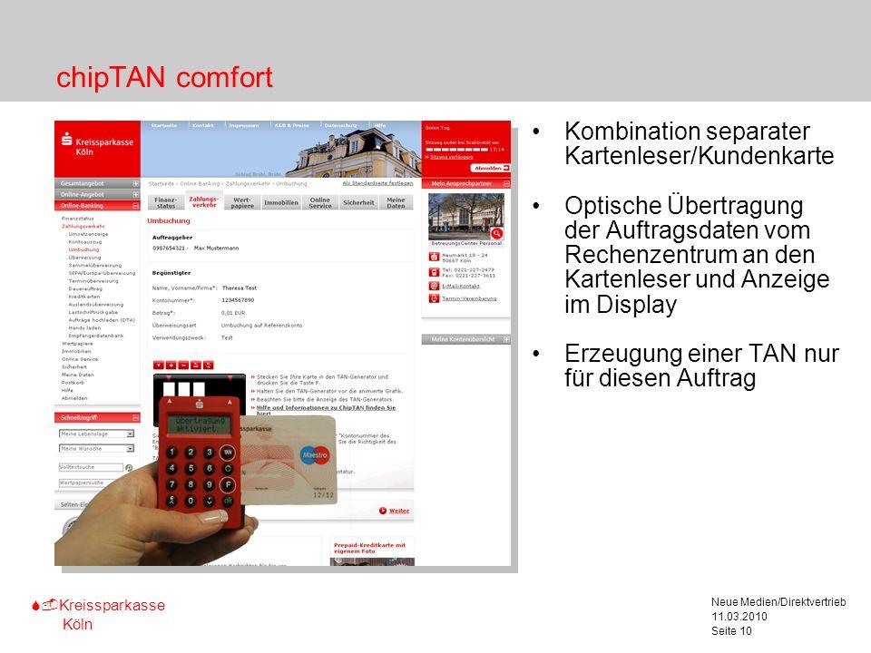 chipTAN comfort Kombination separater Kartenleser/Kundenkarte