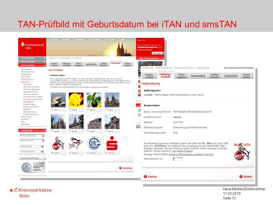 TAN-Prüfbild mit Geburtsdatum bei iTAN und smsTAN