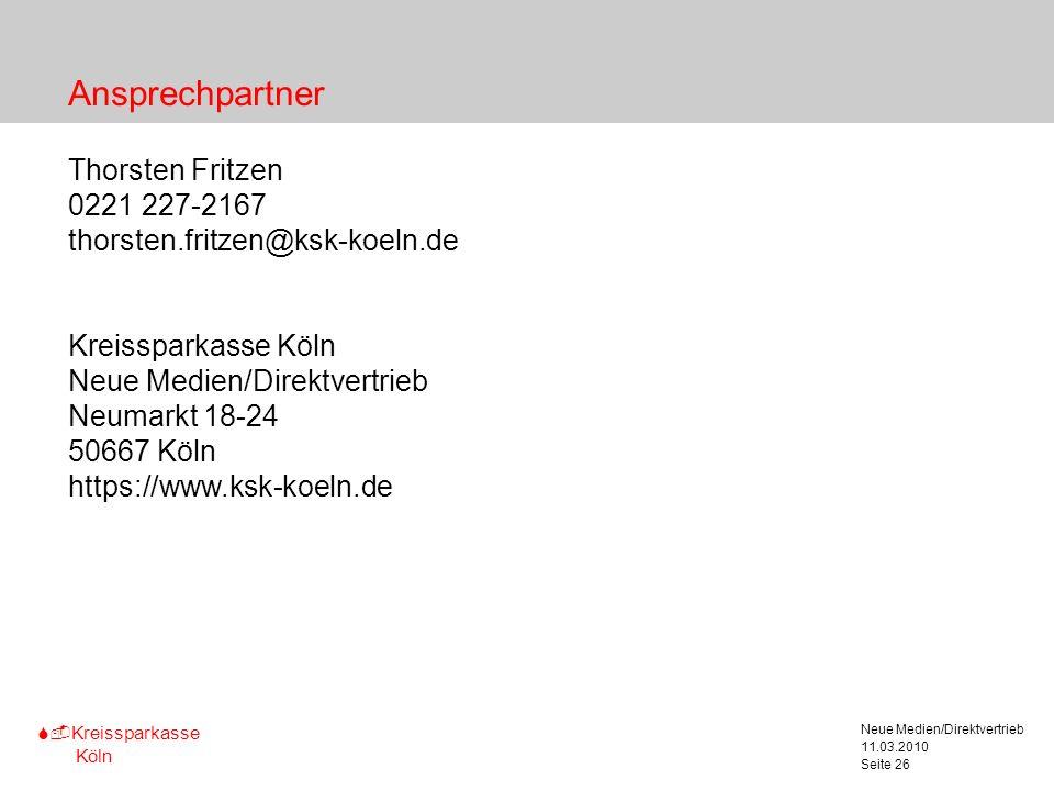 Ansprechpartner Thorsten Fritzen 0221 227-2167