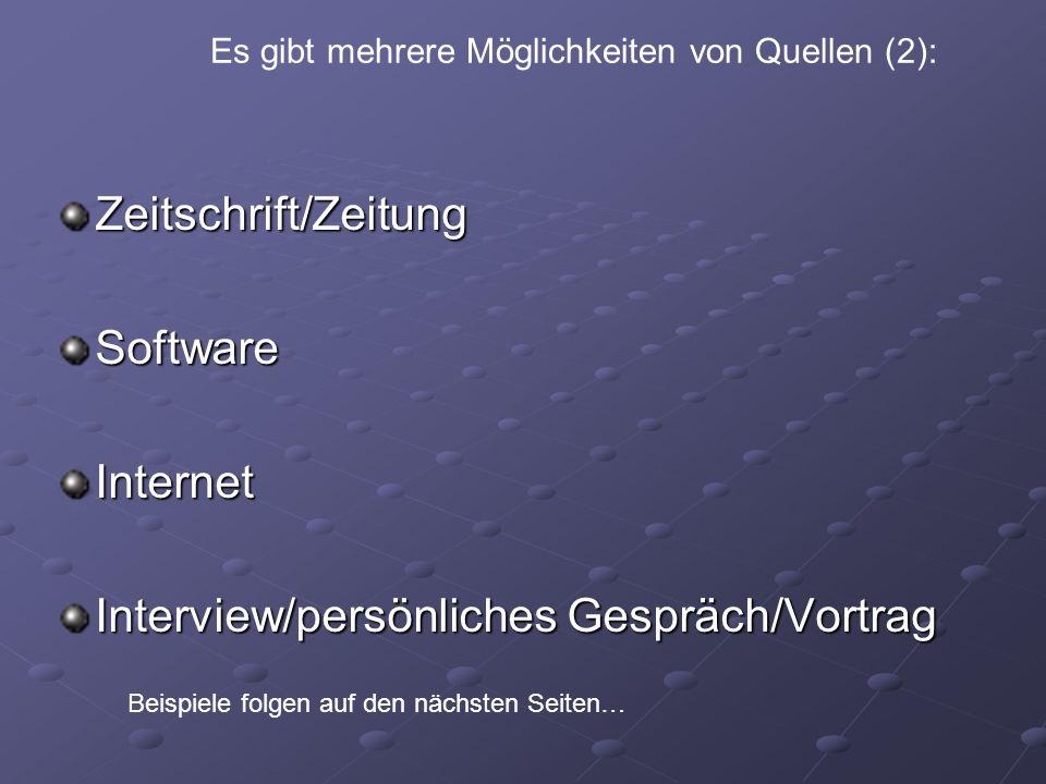 Interview/persönliches Gespräch/Vortrag