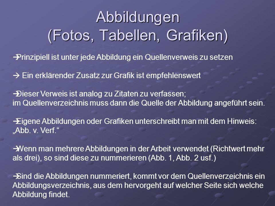 Abbildungen (Fotos, Tabellen, Grafiken)