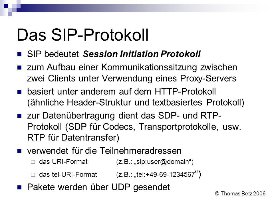 Das SIP-Protokoll SIP bedeutet Session Initiation Protokoll