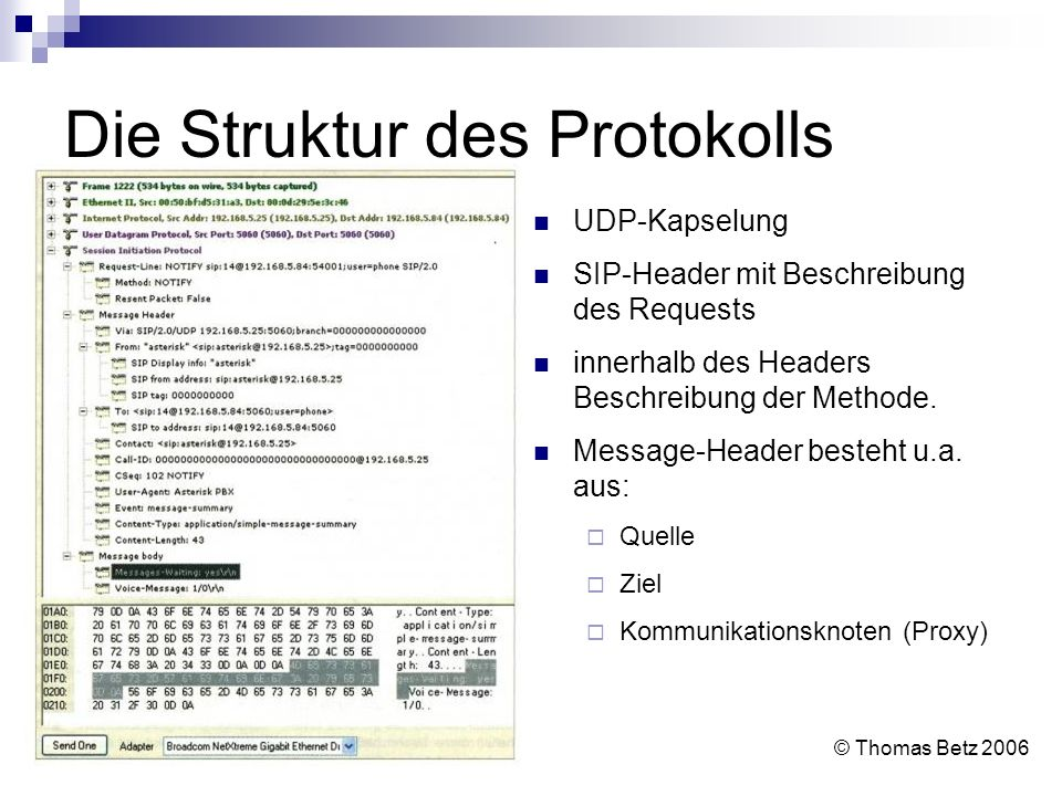 Die Struktur des Protokolls
