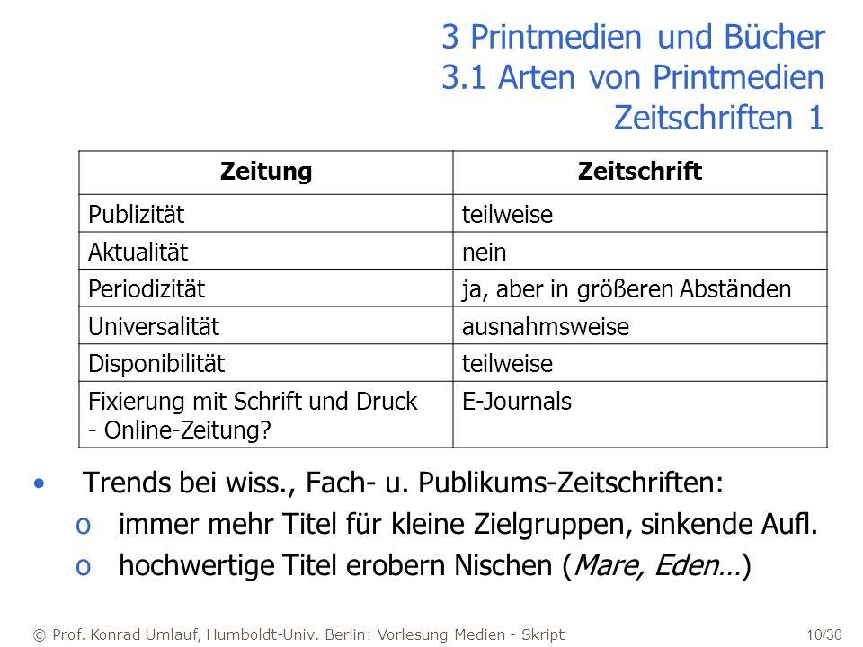 3 Printmedien und Bücher 3.1 Arten von Printmedien Zeitschriften 1