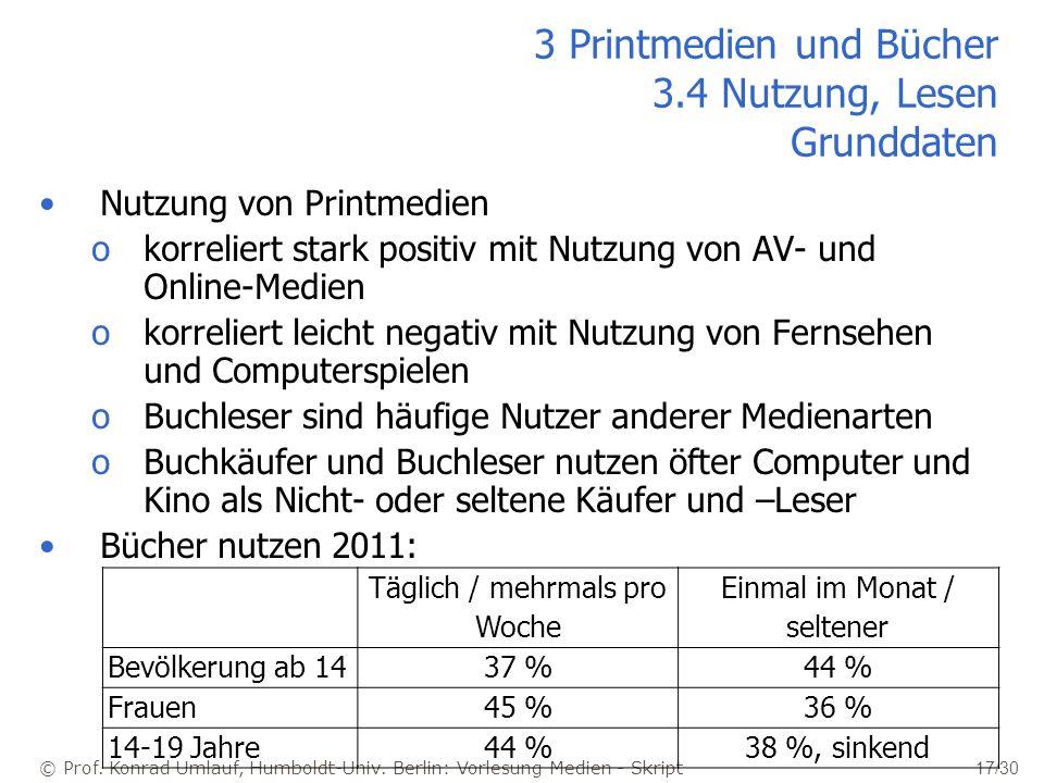 3 Printmedien und Bücher 3.4 Nutzung, Lesen Grunddaten