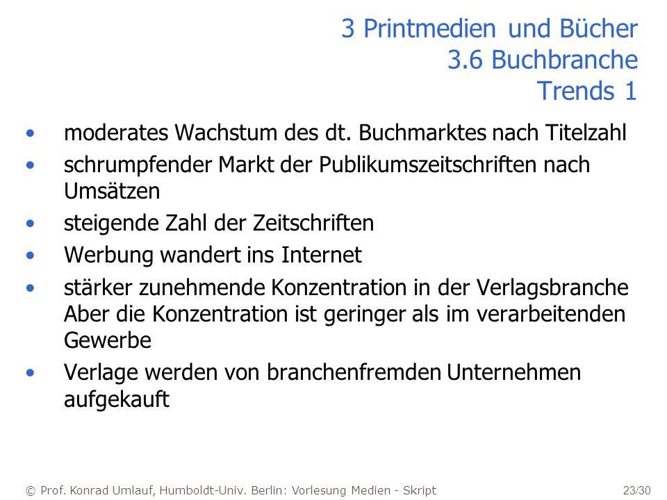 3 Printmedien und Bücher 3.6 Buchbranche Trends 1