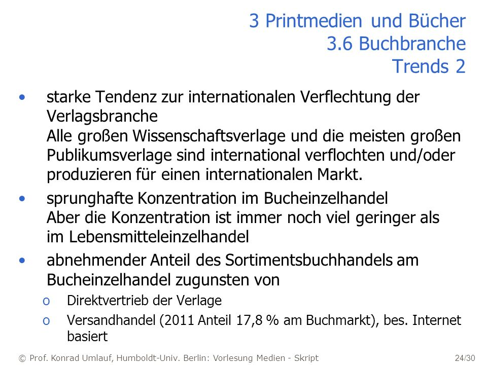 3 Printmedien und Bücher 3.6 Buchbranche Trends 2