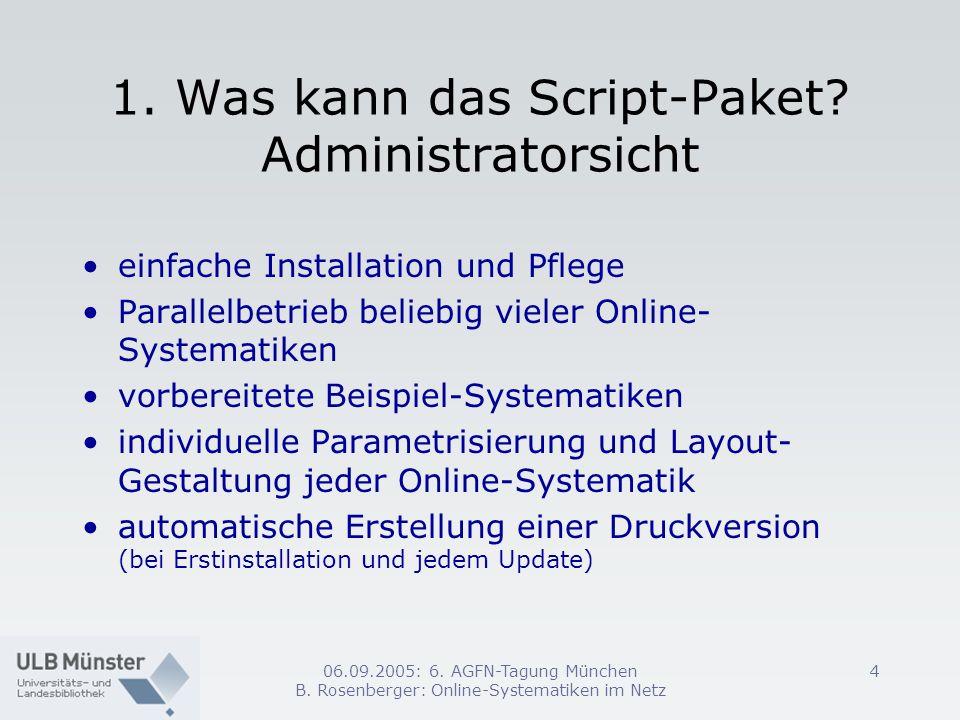 1. Was kann das Script-Paket Administratorsicht