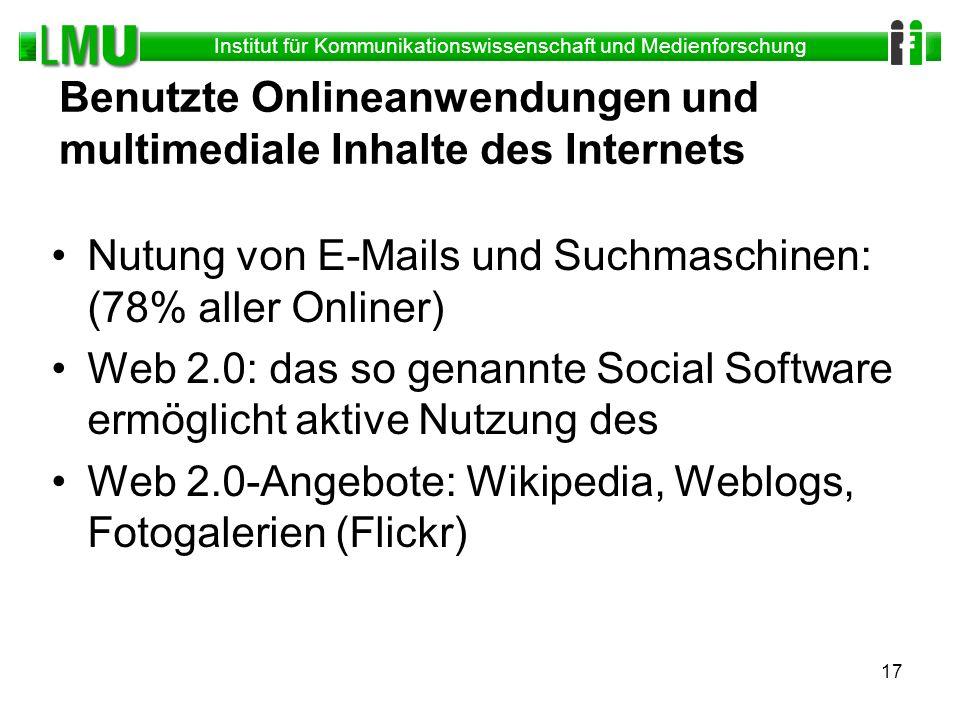 Benutzte Onlineanwendungen und multimediale Inhalte des Internets