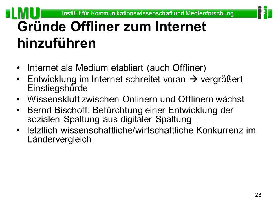Gründe Offliner zum Internet hinzuführen