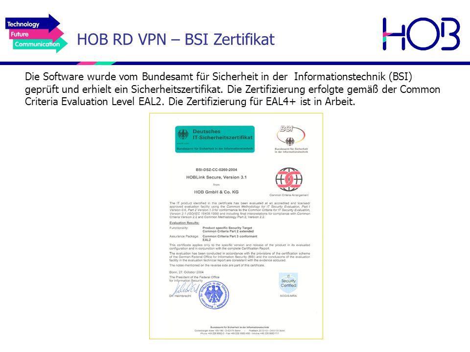 HOB RD VPN – BSI Zertifikat