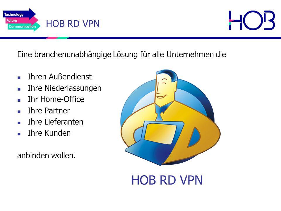 HOB RD VPN Eine branchenunabhängige Lösung für alle Unternehmen die. Ihren Außendienst. Ihre Niederlassungen.