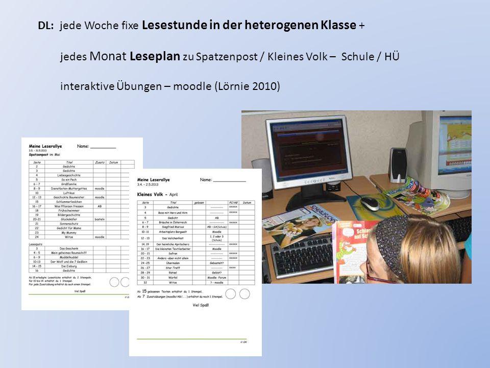 DL: jede Woche fixe Lesestunde in der heterogenen Klasse +