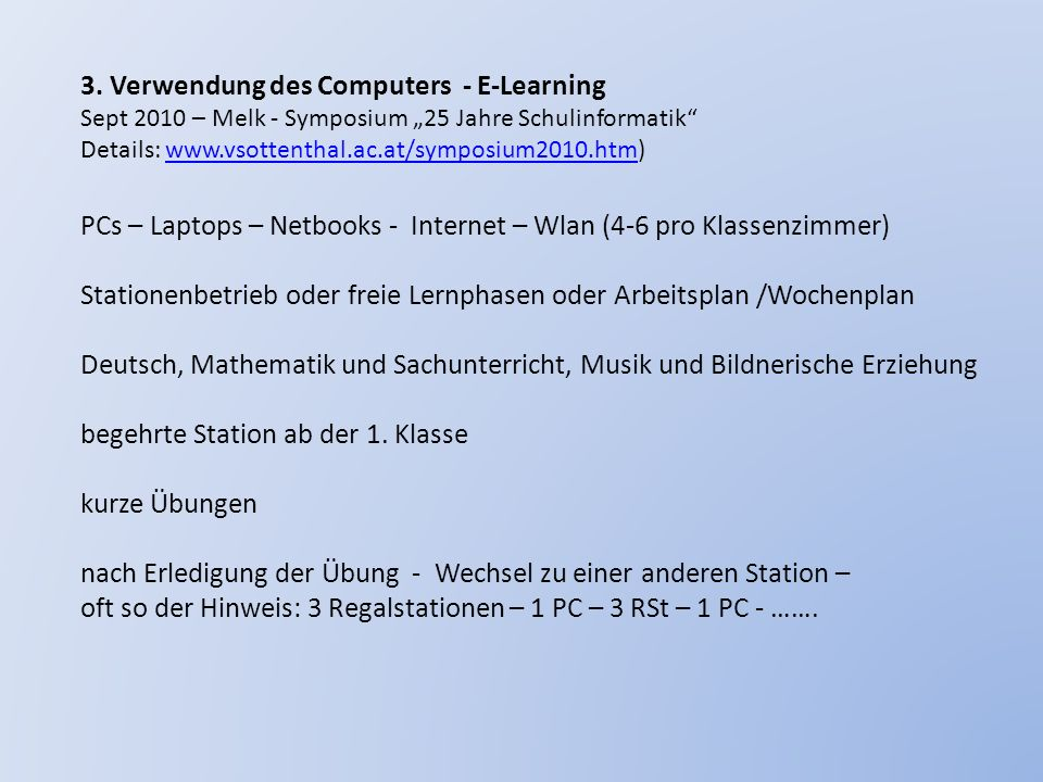 3. Verwendung des Computers - E-Learning