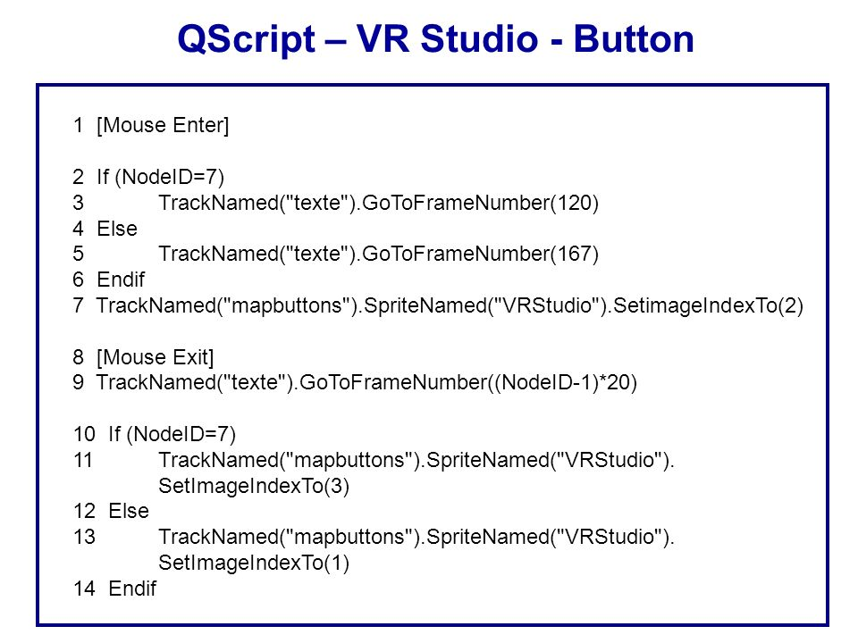 QScript – VR Studio - Button