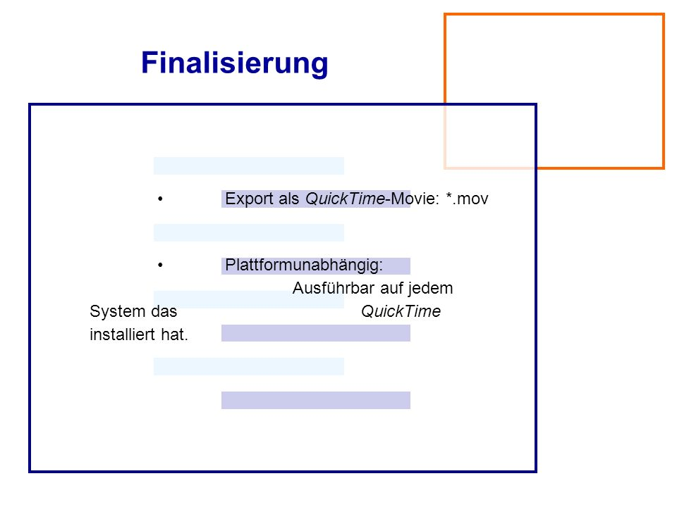 Finalisierung • Export als QuickTime-Movie: *.mov